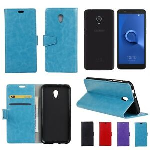 Alcatel 1X Leather Wallet Cover Soft Back Case with Stand