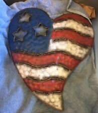 "Metal wall plaque red white blue heart flag patriotic 14"" x 12"" Wihome decor USA"