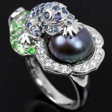 Ring Frosch Saphir blau Tsavorit Perle 925 Silber 585 Weißgold vergoldet Gr. 56