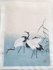 Original Japanese Woodblock Print, Cranes, Signed