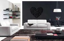 Wall Vinyl Sticker Decals Mural Heart Zebra Animal Beautiful Decor Art (Z043)