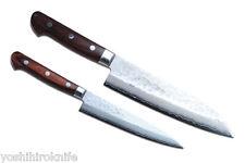 VG10 Hammered Damascus Set Santoku & Petty Japanese Sushi Chef Knife YOSHIHIRO