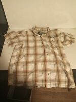 Harley Davidson Mens Embroidered Plaid & Badge Button Short Sleeve Shirt XL
