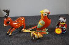 Lot of 4 Vintage Tin Toys Bird Deer Panda China Wind Up