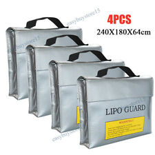 4x Silver Large Size Lipo Battery Guard Sleeve/Bag for Charge&Storage Fireproof