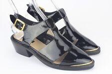 Topshop Women's Black Leather Closed Toe Heel Sandals Size 37