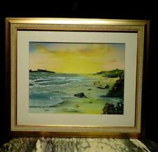 VINTAGE BEACH VIEW OIL PAINTING. QUALITY SEASCAPE. FIGURES ON THE BEACH