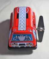 "VINTAGE Sanko Tin Toy New Wind Up Auto Turn 3"" Fire Engine Made in Japan"