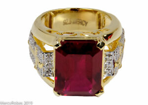 Men's Clergy Apostle Ring (MRG2027 G-R) Red, Sterling Silver w/Gold Plating