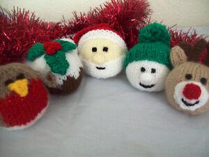 KNITTING PATTERN DK Christmas Tree Decorations Ornaments Santa Reindeer Pudding