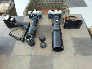 Assortment vintage Camera's and tele lenses Zenith E and Praktica LTL .+ More