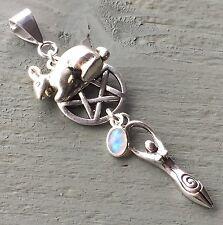 Oestra Eostre Rabbit Goddess Pentagram & Rainbow Moonstone Pendant Wicca Pagan
