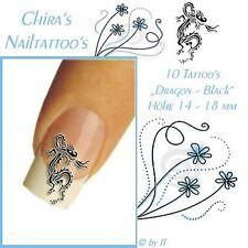 Black Dragon schwarzer Drache Naildesign Nagel Tattoos Sticker Top Markenware