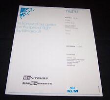 VINTAGE KLM AIRLINES MENU-UNITOURS-CLUB UNIVERSE-LOS ANGELES-AMSTERDAM-FLIGHT-B