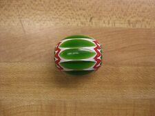 Large Chevron Green, White and Red Chevron Trade Beads Gloss Finish