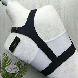 NWT NATORI Gravity Sports Bralette Wireless Bra Yoga Low Impact Black Mesh White