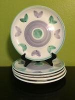 1 Williams Sonoma Caleca Violetta Hand Painted Italy-Purple/Green Dinner Plates