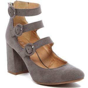 NEW Espirit Women's Heels Light Gray Faux Suede Mary Jane Style Pumps Shoes NIB!