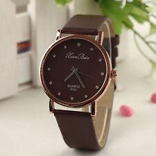 Luxury Womens Watch Diamond Case Leatheroid Band Round Dial Quartz Wrist Watch D