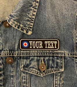 PERSONALISED 1 LINE MOD TARGET PATCH BIKER SCOOTER FELT SEW ON EMBROIDERED PATCH