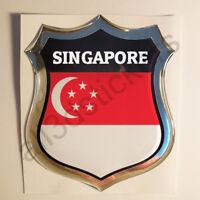 Sticker Singapore Emblem 3D Resin Domed Gel Singapore Flag Vinyl Decal Car Moto
