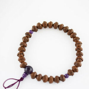 Lotus Bodhi Tree Wood Amethyst Bracelet Japanese Juzu Rosary Prayer Mala beads