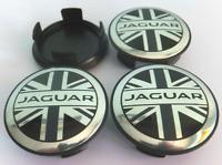 Schwarz 4 x 58mm Jaguar Union Jack Alufelge Nabenkappen Nabendeckel Satz Cap
