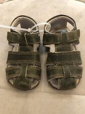 See Kai Baby Boy Sandals Shoes Size 5 Green Leather Flexible Soft