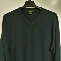 BLOOMINGDALE'S The Men's Store XL 100% Cashmere Sweater Dark Blue V-neck