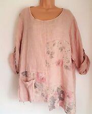 "New Italian Lagenlook 100% linen Pretty Pink floral  Tunic Top 18 20 22 24 48"""