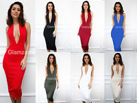 UK STOCK CLEARANCE NEW Halterneck Low Cut Party Midi Bodycon sleeveless Dress