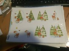 10X 3D SHEETS FOR MAKING CARDS RENDEER/CHRISTMAS TREE  SCISSORS NEED 30X21CM NEW