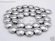 Natural Hematite Gemstone 12mm Round Disc Button Loose Beads Silver 16'' Strand