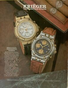 1994 Krieger Chronometer Suisses Pulsometer Exotic Skin Watch Vintage Print Ad