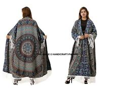 Women Mandala Print Cotton Loose Shawl Kimono Cardigan Top Cover up Shirt Blouse