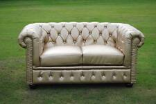 Brand New Gold Bycast Leather Chesterfield Diamante 2 Seater Settee Sofa!