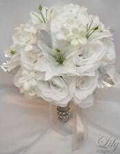 17pcs Wedding Bridal Bouquet Set Decoration Silk Flower WINTER WONDERLAND WHITE