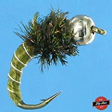 Zebra Midge Olive Premium Fishing Flies- One Dozen - Select Sizes*