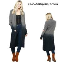 Haute BOHO Gray Oversize Maxi Duster Ombre Tie Dye Sweater Cardigan S M L XL 1X