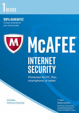 McAfee Internet Security 2017/2018 1 ANNO 1 utenti PC il software Anti Virus RRP £ 20