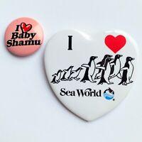VTG I ❤️ SEA WORLD 🐳 LOVE BABY SHAMU ORLANDO PIN-BACK BUTTON LOT PENGUINS HEART