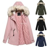 Girls Women Fur Hooded Long Sleeve Thick Parka Jacket Coat S M L XL XXL 4 Colors