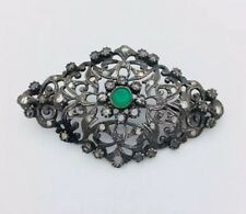 Cut Diamonds Pin/ Brooch G38 Sterling Silver Emerald With Rose