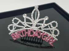 Birthday Girl Rhinestone Comb, Party Hair Accessory, Color: Silver/Pink