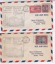 CAM32 W4 Tacoma WASHINGTON 1929 First Flight 2 Covers Air Mail to Seattle !!