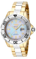 Invicta Men's Watch Plated Stainless Steel Bracelet Two Tone MOP Dial 16035