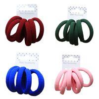 6 Soft Jersey Endless Fabric Hair Elastics Bobbles Ponios Bands - Accessories