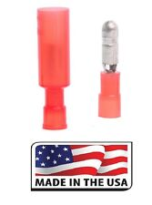 100 RED 22-18 NYLON BULLET CONNECTOR MALE ~ FEMALE ELEC. TERMINAL Made in USA
