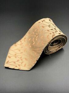 Pierre Cardin Tie, Pure Silk, Champagne Gold & Leaves, Made in Australia, 10cm