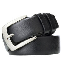 New Men's Casual Fashion Pin Buckle Leather Belt Lychee Waistband FT
